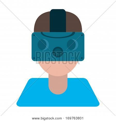 gamer with virtual reality augmented device vector illustration eps 10