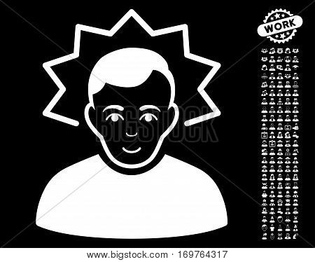 Inventor pictograph with bonus men pictograms. Vector illustration style is flat iconic white symbols on black background.