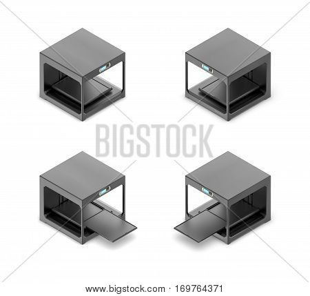3d rendering of a small black 3d-printer in open and closed state in double-sided isometric view. Hi-tech. Modern production. Industrial equipment.