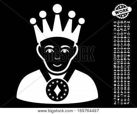 King icon with bonus men graphic icons. Vector illustration style is flat iconic white symbols on black background.