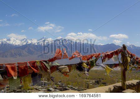Tibetan prayer flags at Shey Palace, Ladakh, India