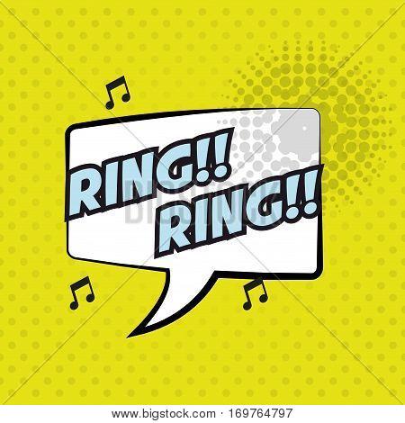 pop art ring ring bubble speech yellow background design vector illustration eps 10