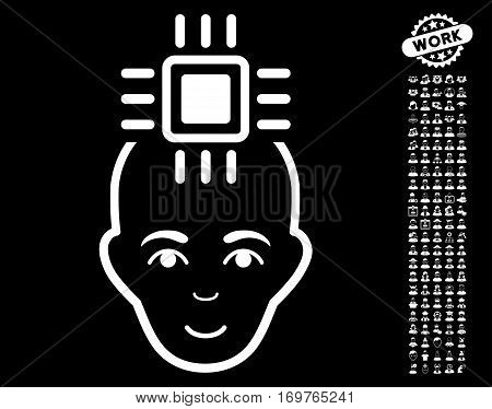 Neural Computer Interface pictograph with bonus occupation design elements. Vector illustration style is flat iconic white symbols on black background.