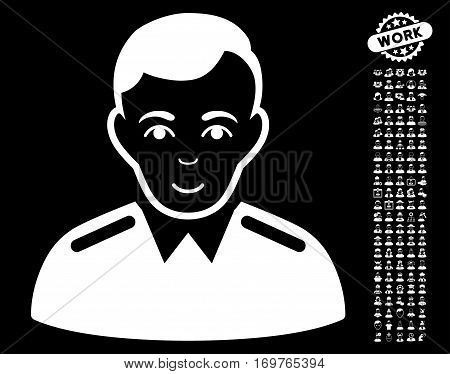 Officer pictograph with bonus avatar symbols. Vector illustration style is flat iconic white symbols on black background.