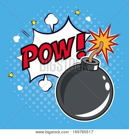 pop art bomb pow with bubble speech design vector illustration eps 10