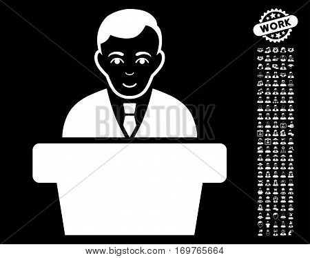 Politician pictograph with bonus human graphic icons. Vector illustration style is flat iconic white symbols on black background.