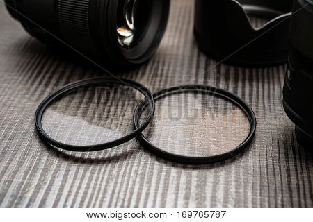 Camera filters and lenses