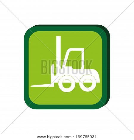 green frame with forklift truck with forks vector illustration