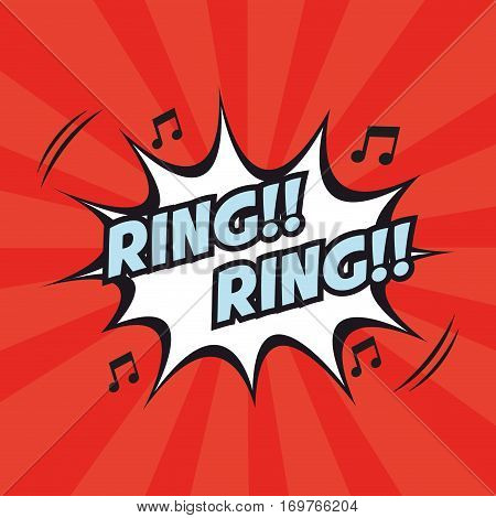 ring ring note musical pop art design vector illustration eps 10