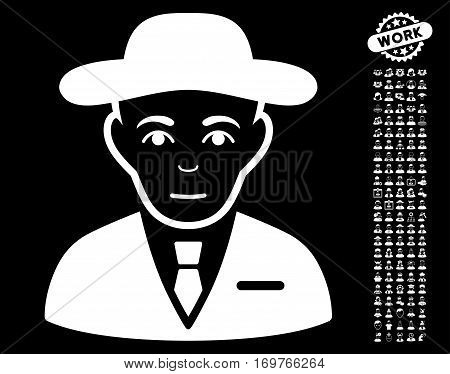 Secret Service Agent pictograph with bonus men clip art. Vector illustration style is flat iconic white symbols on black background.