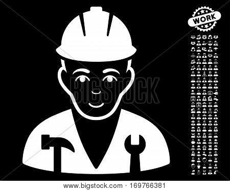 Serviceman icon with bonus occupation design elements. Vector illustration style is flat iconic white symbols on black background.