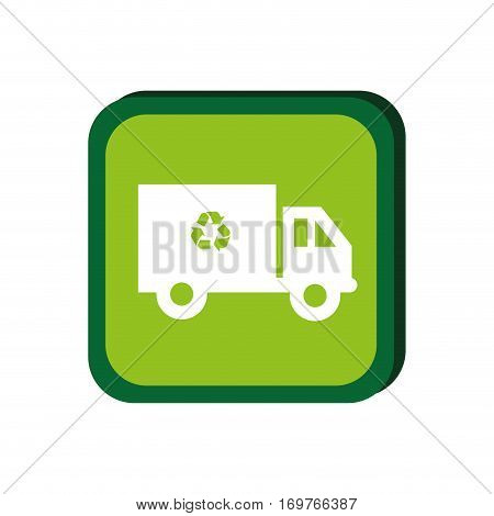 green frame with recycling truck vector illustration