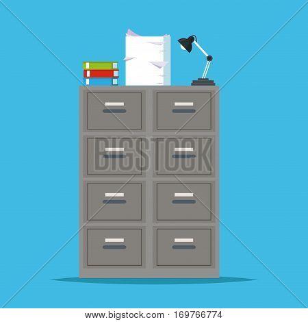 metal filing cabinet storage lapm office vector illustration eps 10