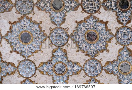JAIPUR, INDIA - FEBRUARY 16: Detail of the mirrored ceiling in the Mirror Palace at Amber Fort in Jaipur, Rajasthan, India, on February 16, 2016.