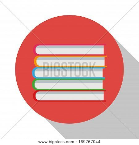 stack book library office supplies shadow vector illustration