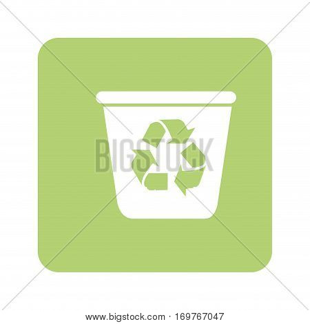 opaque green background with recycling container vector illustration
