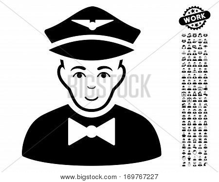 Airline Steward pictograph with bonus human graphic icons. Vector illustration style is flat iconic black symbols on white background.