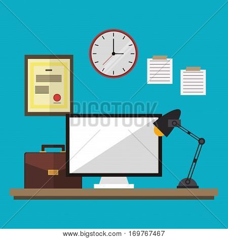 workspace desk clock computer suitcase lamp and diploma vector illustration eps 10