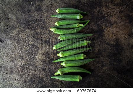 fresh whole and slice organic green okra, healthy vegetable