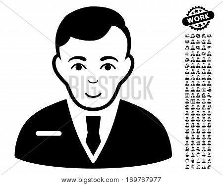 Businessman icon with bonus avatar images. Vector illustration style is flat iconic black symbols on white background.