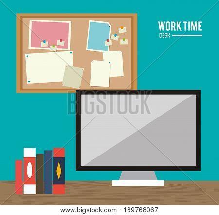 work time desk computer books notice board vector illustration eps 10