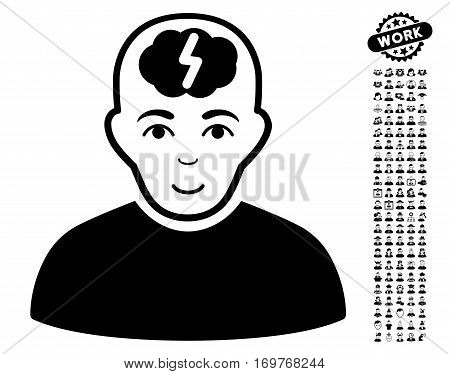 Clever Boy icon with bonus occupation pictures. Vector illustration style is flat iconic black symbols on white background.