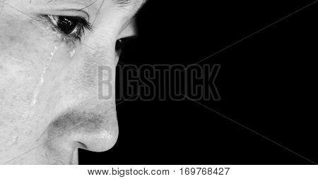 Hopeless Woman With Tear On Face In White Tone