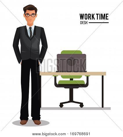 man business glasses work time desk armchair vector illustration