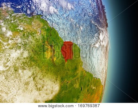 Suriname In Red From Space