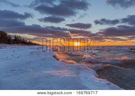 Lake Huron Shoreline In Winter At Sunset