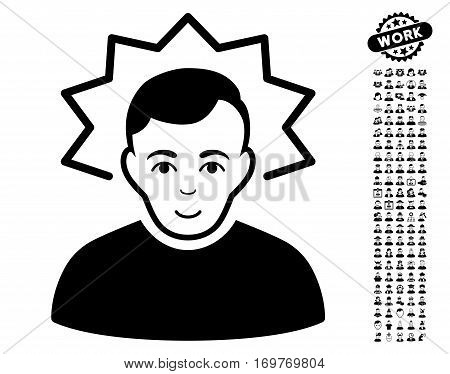 Inventor icon with bonus avatar clip art. Vector illustration style is flat iconic black symbols on white background.