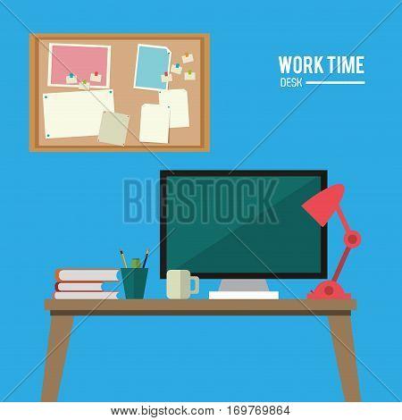 work time desk space laptop lamp notice board vector illustration eps 10