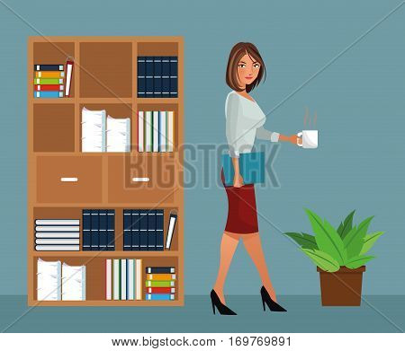 beaut woman holding coffee office furniture pot plant vector illustration eps 10