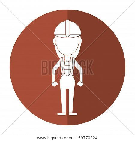 construction woman with overalls uniform shadow vector illustration