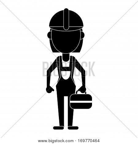 woman construction toolbox pictogram vector illustration eps 10