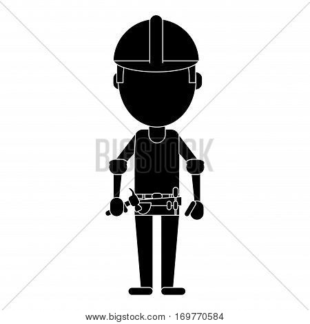 construction man helmet tool belt hammer pictogram vector illustration eps 10