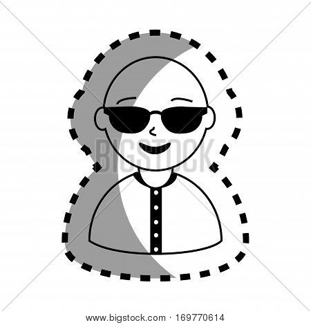 sticker with half body man monochrome with sunglasses and bald vector illustration