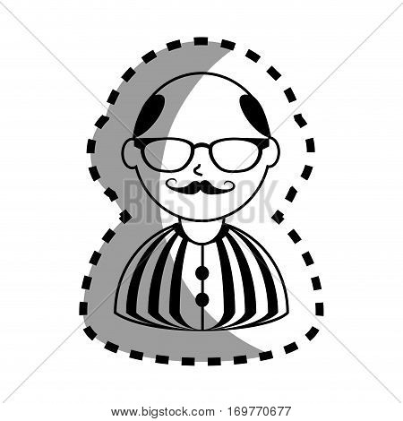 sticker with half body man monochrome with mustache and glasses with shirt striped and bald vector illustration