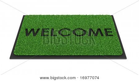 Welcome mat isolated over white - 3d render