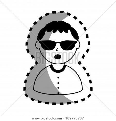 sticker with half body man monochrome with short hair and sunglasses vector illustration