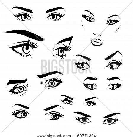 Female woman eyes and brows image collection set. Fashion girl eyes design.