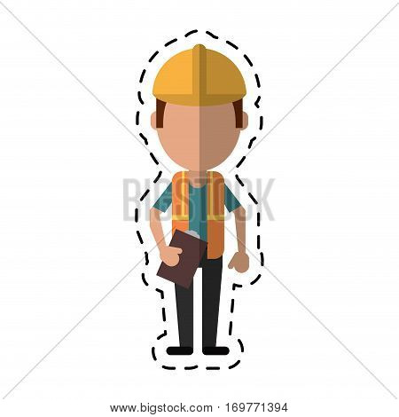 construction man helmet tool belt and helmet-cut line vector illustration eps 10