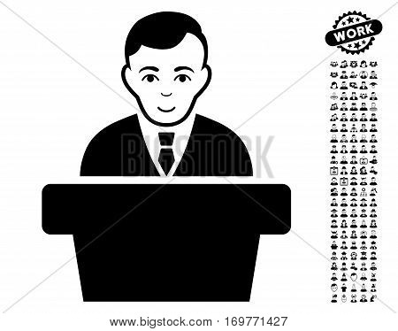 Politician icon with bonus human graphic icons. Vector illustration style is flat iconic black symbols on white background.