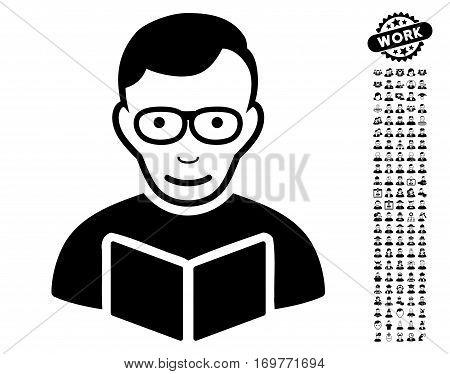 Reader pictograph with bonus avatar images. Vector illustration style is flat iconic black symbols on white background.