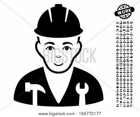 Serviceman pictograph with bonus human symbols. Vector illustration style is flat iconic black symbols on white background.