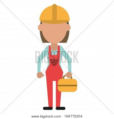 woman worker construction toolbox vector illustration eps 10