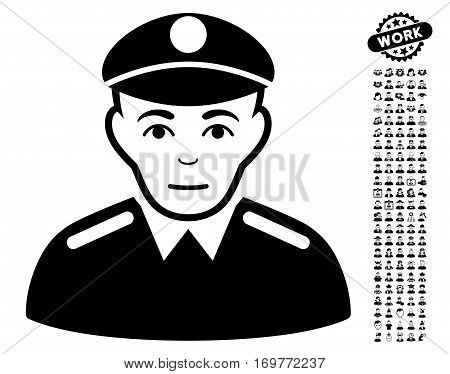 Soldier icon with bonus men pictograms. Vector illustration style is flat iconic black symbols on white background.