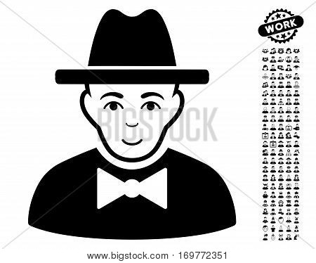 Spy pictograph with bonus occupation graphic icons. Vector illustration style is flat iconic black symbols on white background.