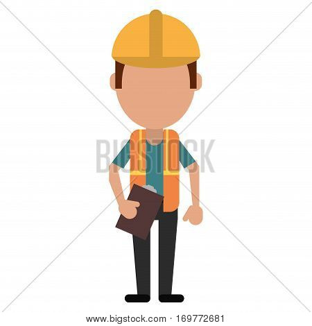 foreman construction helmet vest and clipboard vector illustration