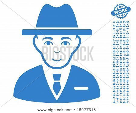 Agent pictograph with bonus men pictograms. Vector illustration style is flat iconic cobalt symbols on white background.